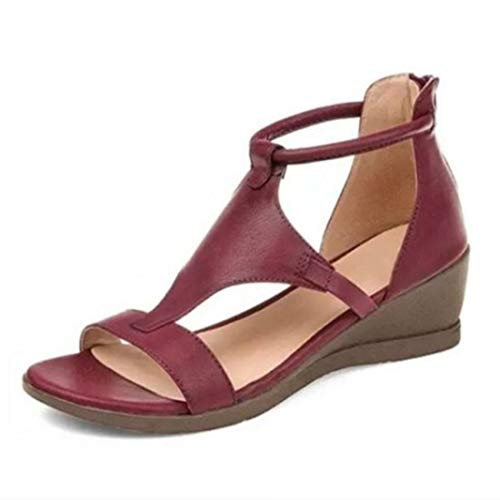 VEROP 2021 Women's Wedge Sandals,Large Size Roman Style Summer Gladiator PU Open Toe ElasticSandals Female Casual Shoes (Red,9.5)