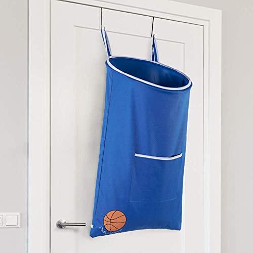 Dunkers Basketballkorb – lustiger Wäschekorb zum Aufhängen über der Tür für Kinder, Jugendliche, Erwachsene, Sportfans – großer wasserdichter Wäschekorb zum Aufhängen mit Basketballkorb und Sockenfach