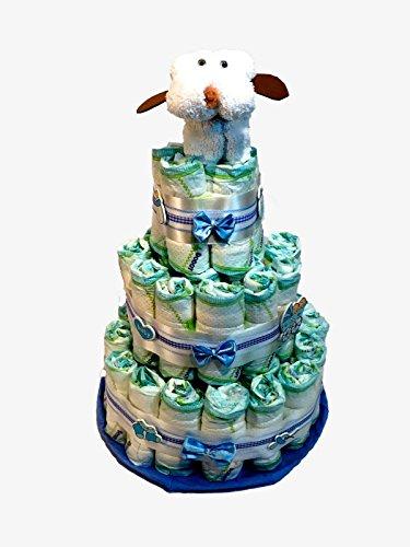 Tarta de pañales DODOT perrito toalla blanco y azul