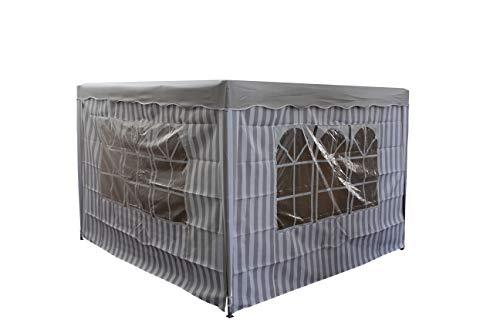 gartenmoebel-einkauf Pavillon Seitenplane Set 2-teilig für Pavillon 3x3 Meter, Weiss/grau gestreift, mit Fenstern