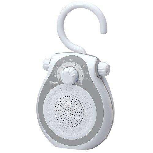 Jensen JWM-120 AM/FM Shower Radio with Splash Resistant Cabinet, Hook Handle and Built In AM/FM Antenna (Discontinued by Manufacturer)