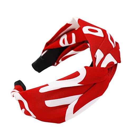 YWLINK Mode Damen Retro Elegant Stirnband Haar Kopfband SüßE MäDchen Party Hip Hop Breit Haarband(Rot)