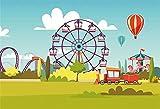 EdCott 7x5 pies Dibujos Animados Niños Parque Atracciones Telón Fondo Fiesta Feliz cumpleaños Parque Infantil Globos Aire Caliente Carrusel Ferris Fondo Rueda para Accesorios fotografía Photo Studio