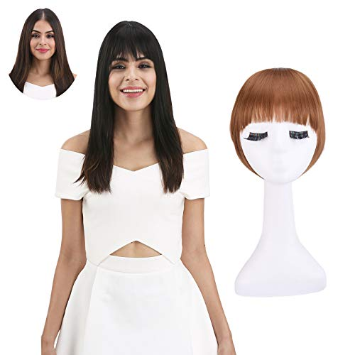 REECHO Fashion Full Length Synthetic 1 Piece Layered Clip in Hair Bangs Fringe Hairpieces Hair Extensions Color - Light Golden Brown