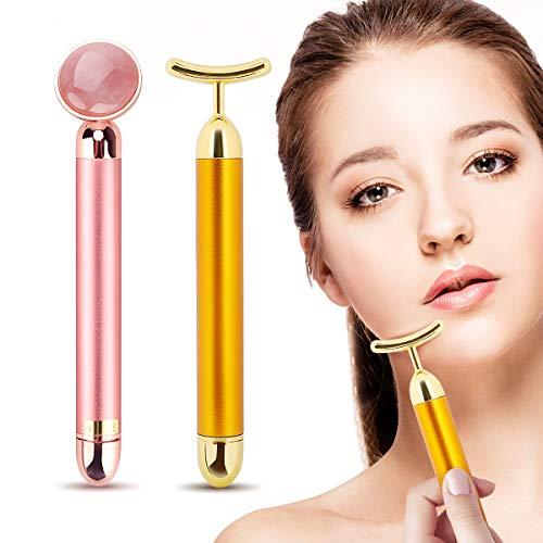 2-EN-1 Beauty Bar 24k Golden Pulse Facial Masajeador facial, Brazo Ojo Nariz Masajeador de cabeza Lifting facial instantáneo, Antiarrugas, Estiramiento de la piel, Reafirmación facial