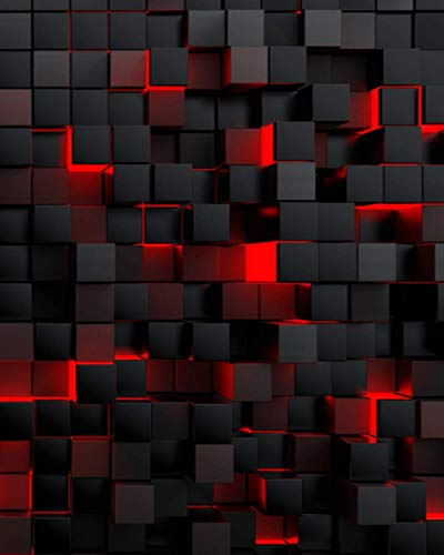 College Ruled Composition Notebook: Radical Red 3D Black Crystal Cubes | Awesome...