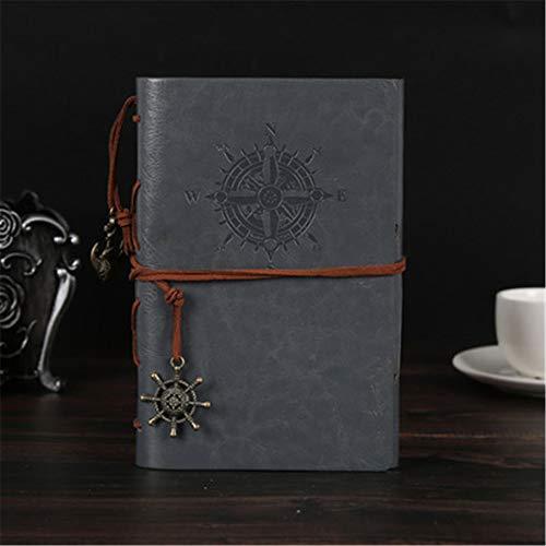 Diario de cuero sintético, cuaderno, relleno repetible, encuadernación en espiral, clásico, marcado, diario de viaje, con colgante horizontal y retro, pintado de color marrón de 17.5X9.5CM