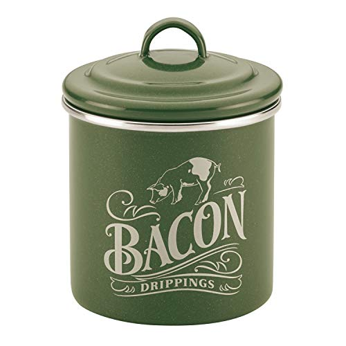 Ayesha Curry Enamel on Steel Bacon Grease Can / Bacon Grease Container - 4 Inch, Green