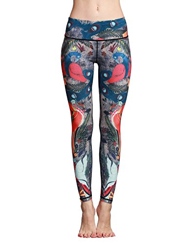 Doris Boutique FU - YOGA Workout Stretch Leggings Patterned Hosen (M, HK62)