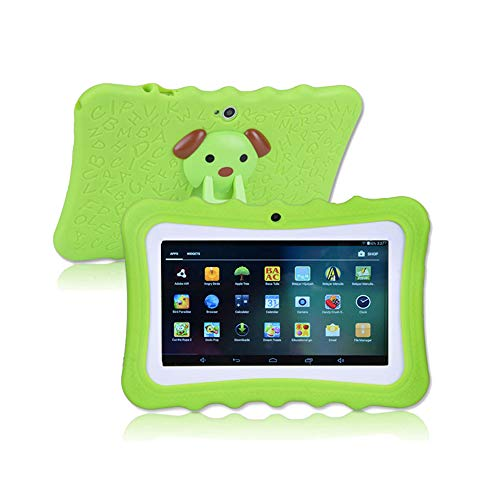 MIALX Tablet para Niños HD 7 Pulgadas, Android Quad Core 16 GB, Tablet PC con Cámara WiFi Bluetooth, Controles Parentales, Aplicación iWawa Preinstalada, Estuche para Tableta para Niños, Regalo,Verde