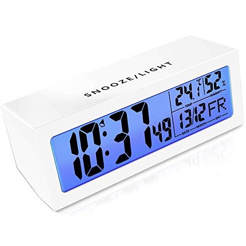 Kaxofang Despertador Digital con RepeticióN Activada por Tacto,Volumen Alarma Ajustable,DeteccióN Humedad y Temperatura,Luz Nocturna,Pantalla LCD 5,3 Pulgadas,Reloj Digital Simple con Pilas