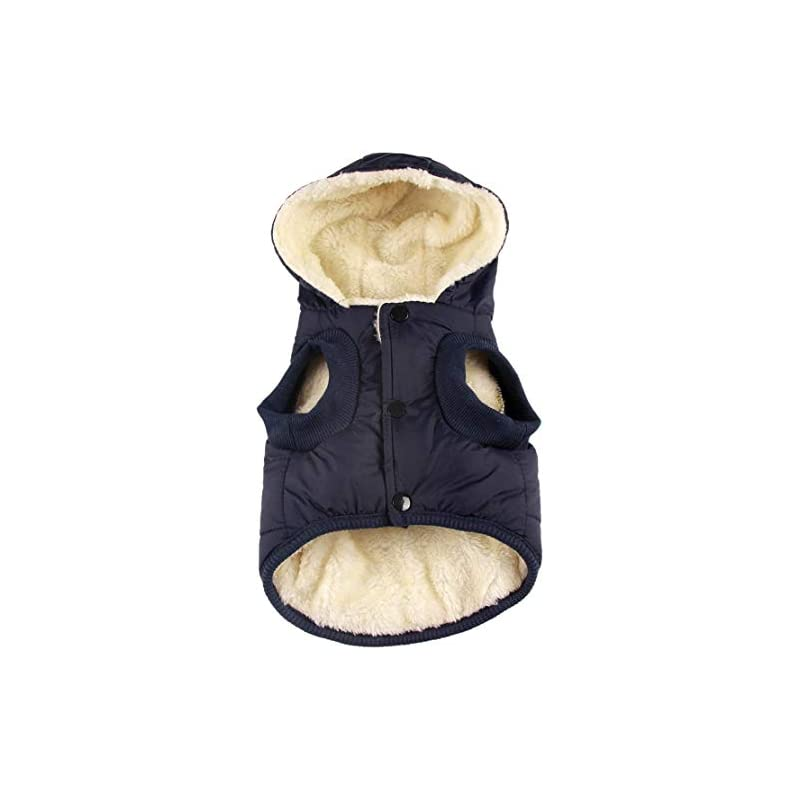 dog supplies online rc gearpro dog clothes winter cotton-padded jacket hoodies cat puppy cold weather coats vest for small medium large dog (xl, blue)