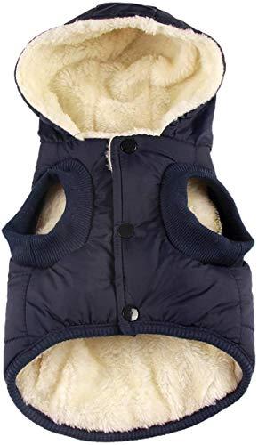 RC GearPro Hundebekleidung Winterjacke mit Kapuze und Kapuze für Katzen und Welpen, für Kleine, mittelgroße und große Hunde, S, blau