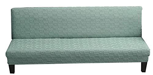 erddcbb Jacquard Futon Cover Stretch Armless Futon Sofa Cover Soft Futon Slipcover,Armless Sofa Cover,Folding Couch Slipcover (Medium,Cypress Green)