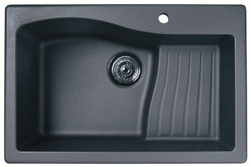 Swanstone QZ03322AD.077 Granite 1-Hole Dual Mount Single-Bowl Kitchen Sink, 33-in L X 22-in H X 10-in H, Nero