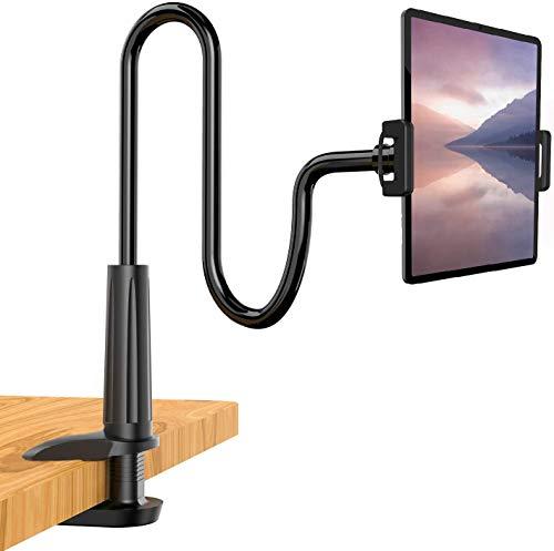 LINKLKBOYTablet Halterung,Schwanenhals Handy Halter,Tablet Halter : 360° Drehen Universal Ständer für iPad Mini 2 3 4, Neu Pad Pro 2019, Pad Air, Phone, und Weitere 4,7-10,5 Zoll Geräte - Schwarz