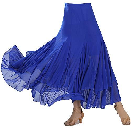 Damen Tanzrock Swing Walzer Bauchtanz Ballroom Wettbewerbtango Latein Kostüm Maxirock Faltenrock Saphirblau Einheitsgröße