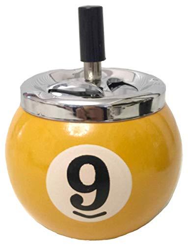 灰皿 回転 卓上灰皿 ビリヤード ボール 型 吸い殻 入れ インテリア 雑貨 かわいい 丸型 [elrin] (黄)