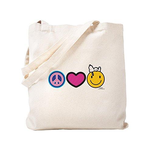 CafePress–Frieden Love Snoopy Peanuts–natürliche Canvas Tote Bag, Tuch, mit Tasche Tote S khaki
