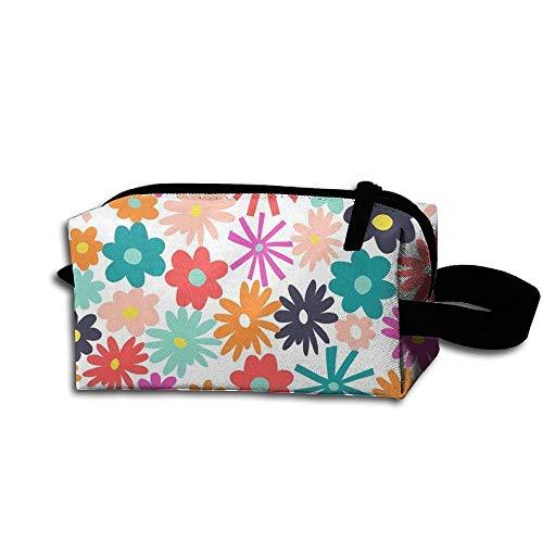 Travel Makeup Tea Time Floral - Rainbow Beautiful Waterproof Cosmetic Bag Quick Makeup Bag Pencil Case