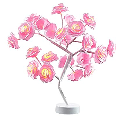Table Lamp Rose Flower Desk Tree Lamp Gift For Girls Women Teens Home Décor For Wedding Christmas Living Room Bedroom Party with 24 Warm White LED Lights |Two Modes: USB/Battery Powered(White)