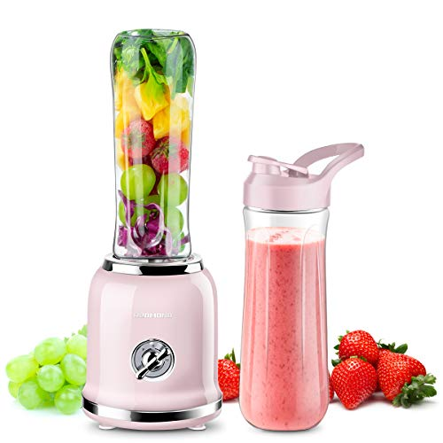 REDMOND Personal Blender Countertop Smoothie Blender 21000RPM with 2 x 20oz Travel Bottle 2 Speed, Pulse Function 6 Stainless Steel Blades BPA Free Pink California