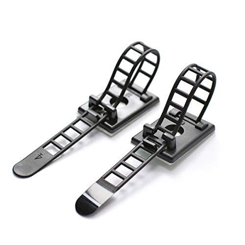 50 Stück Kabelbinder Klebe-Kabelclips Einstellbare Kabelbinder aus Nylon und Klebekabelklemmen mit optionaler Schraubbefestigung für Kabelmanagement (Schwarz)