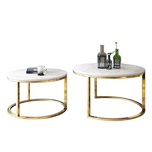 YNN Table Table d'appoint de côté de canapé de Salon de Table Basse, Table gigogne en marbre, Cadre en métal Rond, Salon Chambre