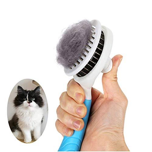 Katzenbürste, Katzenburste Massage Selbstreinigend Zupfbürste Entfernt Unterwolle Hundebürste Hundebürste Katzenbürste Kurz bis Langhaar Geeignet Sanfte Katzenbürste Zupfbürste- (blau)