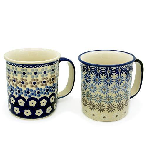 Bunzlauer Keramik Becher gerade, 220 ml, 2er Set (Dekore Astern und Leonie)