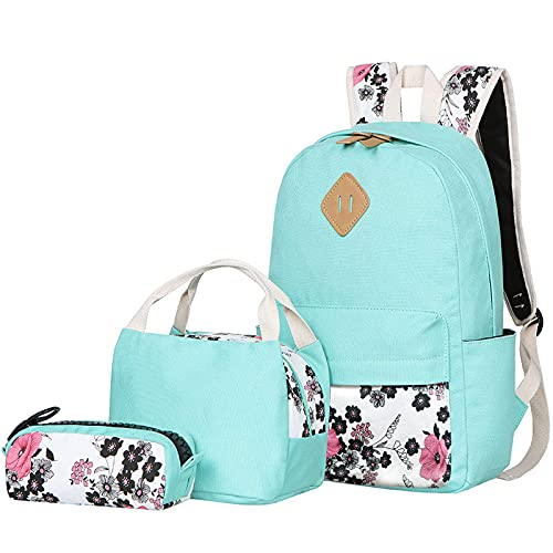 BLUBOON Teens Backpack Set Canvas Girls School Backpack Lunch Box Pencil Bags Student Bookbags 3 in 1 (Water Blue-14)