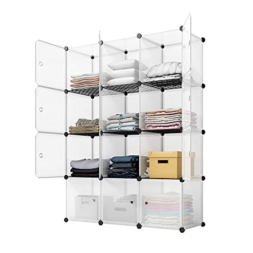 KOUSI Portable Storage Cubes-14 x14 Cube 12 Cubes-More Stable add Metal Panel Cube Shelves with Doors Modular Bookshelf Units,Clothes Storage Shelves,Room Organizer for Cubby Cube