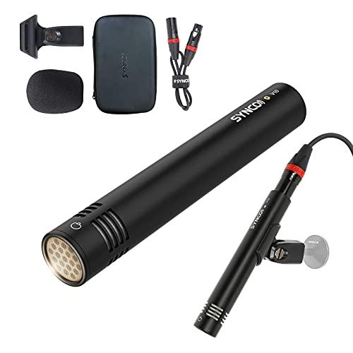 SYNCO Mic V10 Microfono-Condensador-Instrumento-Cuerda-Viento, Micrófono Diafragma Pequeño XLR Hipercardioide con Amplificador Incorporado para Instrumentos Acústicos y Grabación de Voces Grupales