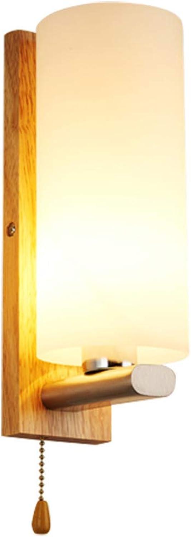 ZQH Massivholz Wandlampe, Kreativ Modern Hlzern Wandleuchten Schlafzimmer Nachttischlampe für Wohnzimmer, Flurstreppe Leuchter Dekorativ Beleuchtung Schalter ziehen,28  10CM