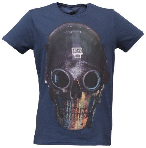 40by1, Herren T-Shirt, Flight Comander, Skull, Fashion Tee, Navy, 40/1-GAS-12-016, GR XXL