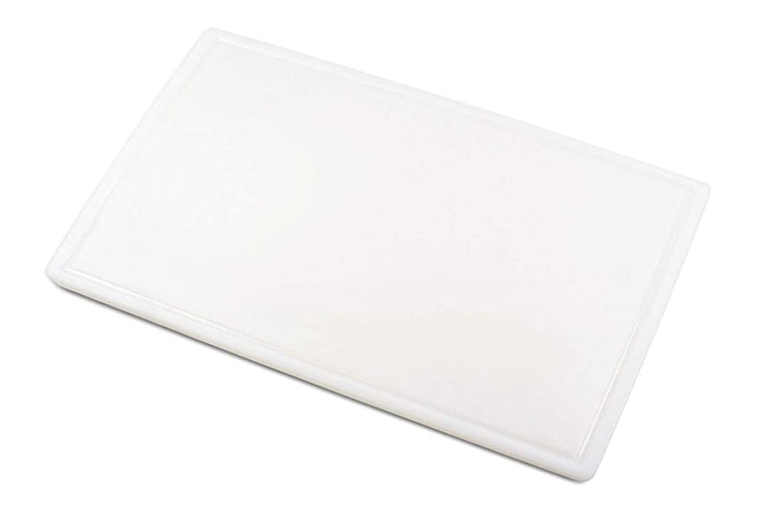 Commercial Plastic Carving Board with Groove, NSF Certified, HDPE Poly (30 x 18 x 0.5 Inch, White)