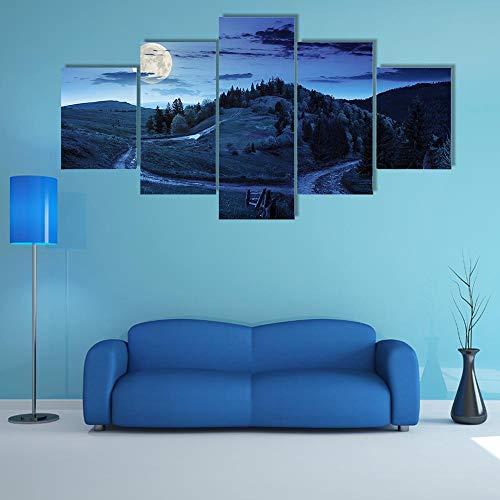 GHYTR Cuadro En Lienzo Decoracion 5 Piezas HD Imagen Impresiones En Lienzo Póster Pintura Árboles De Bosque En Montañas 5 Piezas Cuadro Moderno XXL 150X80Cm Murales Pared Oficina Decor