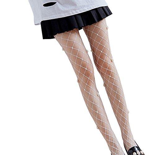 Liusdh Damen strümpfe Sex Transparente Strumpfhose Netzstrümpfe Lady Mesh Pantyhose socken(White,Free Size)