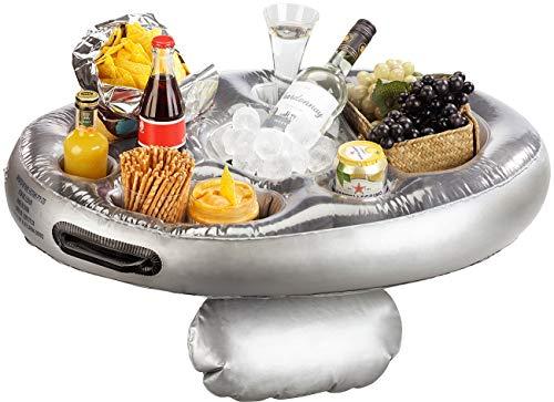 infactory Poolbar: Schwimmender 2in1-Getränke- und Snackhalter, aufblasbar, 70 x 50 cm (Schwimmender Getränkehalter)