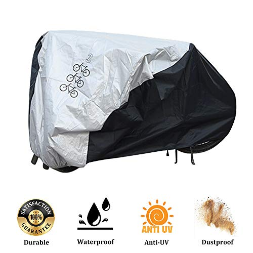 Bicycle Cover for 3 Bikes Waterproof Protector Dustproof and Sunscreen with PU Coating Large Size for 29
