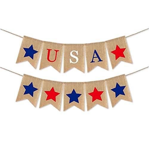 American Flag Bunting Banner Banner Patriótica USA 4 de Julio triángulo de la Bandera guirnaldas para Día de la Independencia Decoración Style1