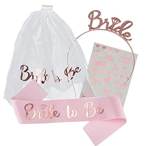 Bride to Be Sash, gli accessori del Hen Party includono la tiara del cerchietto della sposa, il velo con il pettine, la fascia, i tatuaggi, le decorazioni dei regali di Bride to Be per il matrimonio