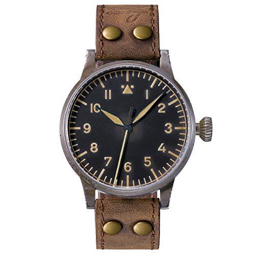 Reloj de aviador original Mülheim an der Ruhr Erbstück de Laco – Fabricado en Alemania – 39 mm de diámetro – Diseño A – Calidad única – Excelente acabado – Resistente al agua – desde 1925