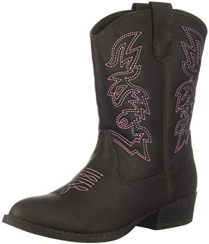 Deer Stags Unisex Kid s Ranch Pull On Western Cowboy Fashion Comfort Boot Dark Brown 2 Medium product image