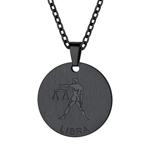PROSTEEL Münze Kette mit Sternzeichen schwarz Edelstahl Astrologischer Damen Schmuck Sternbilder Waage Gravur mit 55cm/2,5mm Rolokette Mädchen