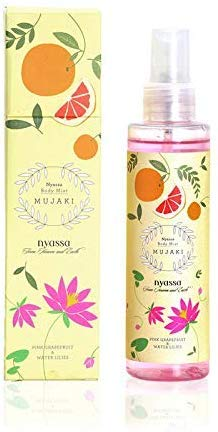 Glamorous Hub Nyassa Mujaki Body Mist 150 ml with Pink Grapefruit & Water Lilies.Natural product to dleight your senses.No Parabens PthalatesSulphatesSilicons Petroleum.Cruelty free.