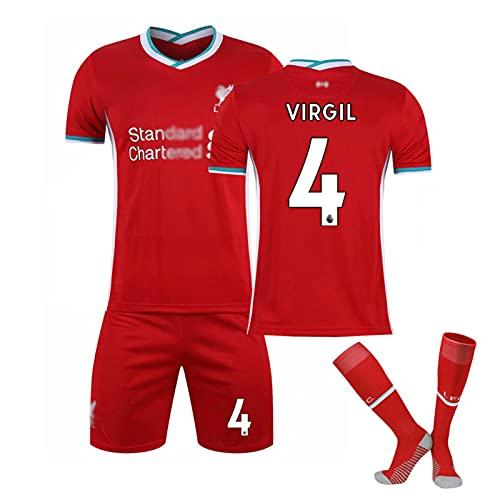 KTPD Camiseta de fútbol con diseño de camiseta de fútbol No. 4, de 3 piezas, camiseta de fútbol, camiseta de fútbol, transpirable, color rojo