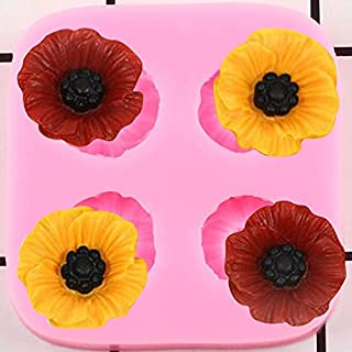 DIY Poppy Flower Silicone Molds Cupcake Topper Fondant Cake Decorating Tools Jewelry Resin Molds Candy Chocolate Gumpaste ...