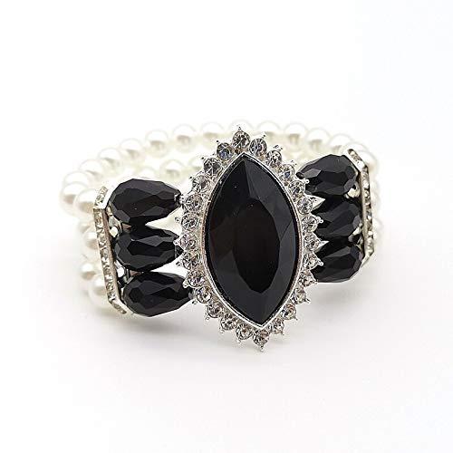 XSZPKL Pulsera de Perlas de Cristal para Mujeres Joyas Plata Rojo Negro Azul Oro Pulseras Elasticidad Brazaletes de Moda