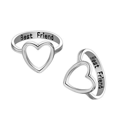 2 Pack Letter Best Friends Friendship Rings Hollow Heart Shape Engagement Rings for Women Girls Promise Wedding Rings Set (Silver, 7)